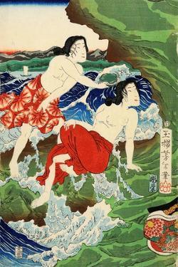 Chigogafuji Enishima, Woman Divers by Yoshitoshi Tsukioka