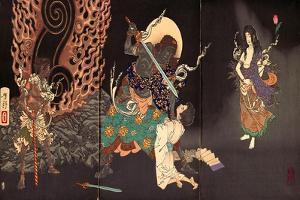 Fudô Threatening Yuten with His Sword by Yoshitoshi Tsukioka