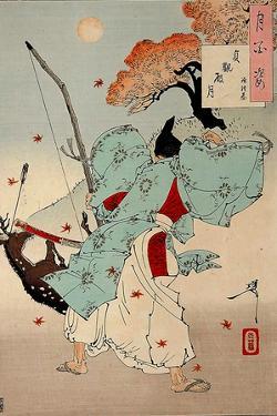 Joganden No Tsuki - Minamoto No Tsunemoto, One Hundred Aspects of the Moon by Yoshitoshi Tsukioka