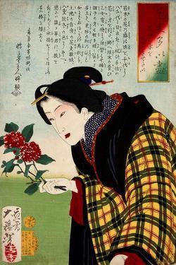 Looking for Water a Bijin Making an Ikebana Flower Arrangement by Yoshitoshi Tsukioka