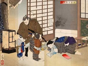 New Selections of Eastern Brocade Pictures - Sakura Sogoro and Family by Yoshitoshi Tsukioka