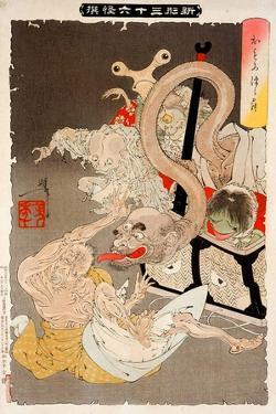 Pandora's Box: Omoi Tsuzura and Yokubari Obasan by Yoshitoshi Tsukioka