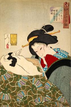Thirty-Two Daily Scenes: 'Looks Cozy', Mannerisms of a Merchant's Widow by Yoshitoshi Tsukioka