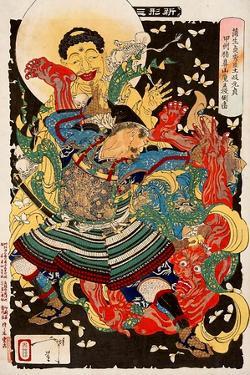 Toki Motosada, Hurling a Demon King, Thirty-Six Transformations by Yoshitoshi Tsukioka