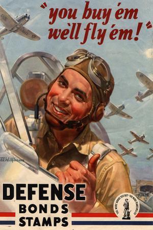 You Buy Em We'll Fly Em Defense Bonds Stamps WWII War Propaganda Plastic Sign