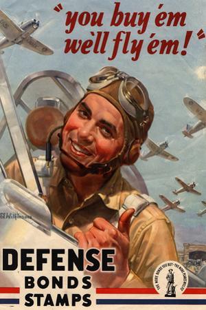 You Buy Em We'll Fly Em Defense Bonds Stamps WWII War Propaganda