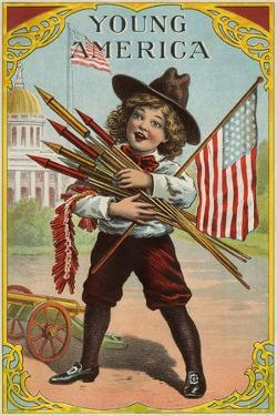 Young America', Label Featuring a Boy Holding Fireworks, C.1905