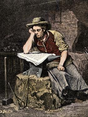Young Blacksmith Reading a Newspaper, c.1800