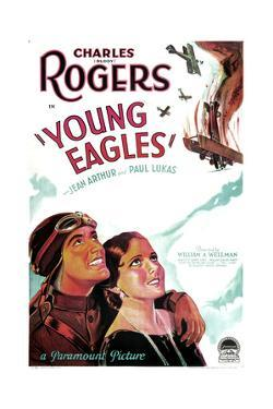 YOUNG EAGLES, US poster art, from left: Charles 'Buddy' Rogers, Jean Arthur, 1930