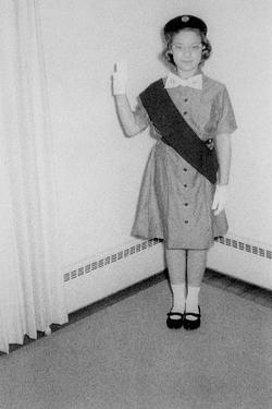 Young Girl Scout Makes Oath and Pledge, Ca. 1963