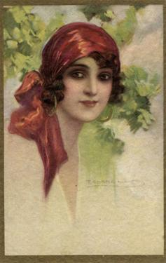 Young Italian Woman in a Red Headscarf by T Corbello