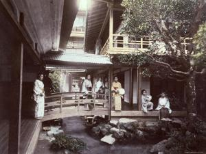 Young Japanes Women in Kimonos Seen in a Characteristic House of Tea in Tonosawa