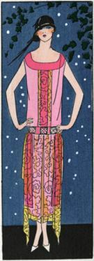 Young Lady in Salmon Pink Evening Dress by Beer