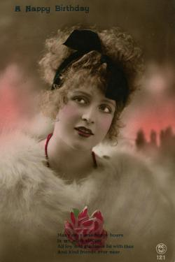 Young Woman in White Fur on a Birthday Postcard