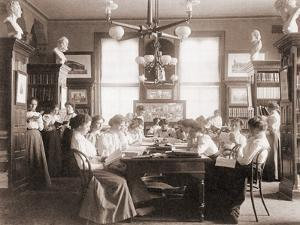 Young Women in Library of Washington, D.C. Teacher Training School in 1900