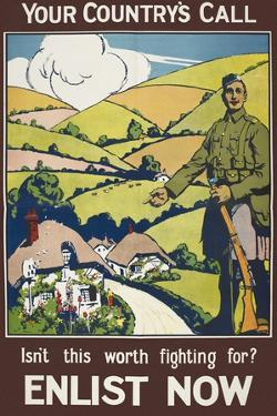 Your Country's Call ...' a Recruitment Poster Showing the British Countryside