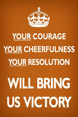 Your Courage Will Bring Us Victory (Motivational, Brown) Art Poster Print
