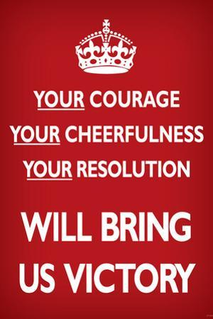 Your Courage Will Bring Us Victory (Motivational, Red) Art Poster Print