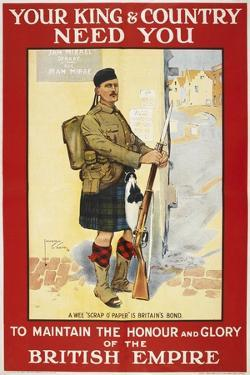 Your King and Country Need You'. a Recruitment Poster Showing a Scottish Soldier
