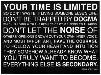 Your Time Is Limited   Steve Jobs Quote Poster