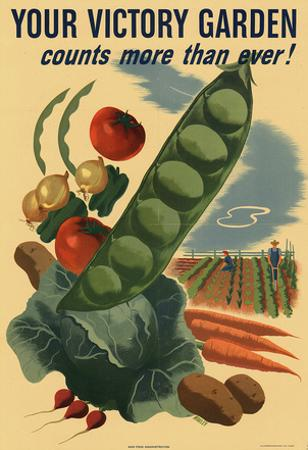 Your Victory Garden Counts More Than Ever WWII War Propaganda Art Print Poster