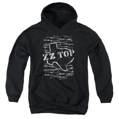 Youth Hoodie: ZZ Top- Distressed Barbed Texas