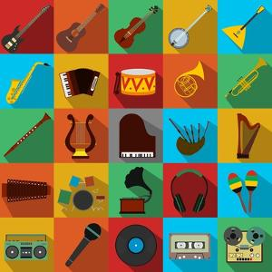 Music Flat Icons Set by Yulia Ryabokon