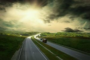 Beautiful View On The Road Under Sky With Clouds by yuran-78