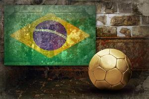 Grunge Flag Of Brasil On The Wall And Ball by yuran-78