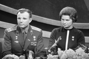 Yuri Gagarin and Valentina Tereshkova, Russian Cosmonauts, 1963