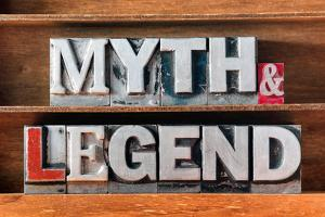Myth and Legend Words Made from Metallic Letterpress Type on Wooden Tray by Yury Zap
