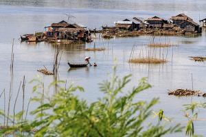 Koh Trong Island. Floating Vietnamese fishing village across the Mekong River from Kratie, Cambodia by Yvette Cardozo