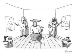 A hammerhead shark gets his eyesight check by two eye doctors in either co… - New Yorker Cartoon by Zachary Kanin