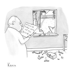 """A man reads a note """"Please take care of my brick"""" which was attached to a ? - New Yorker Cartoon by Zachary Kanin"""
