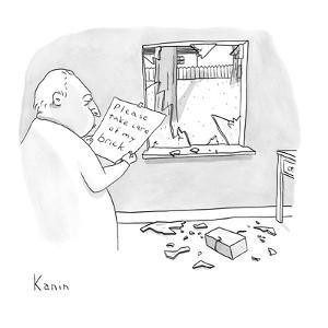 "A man reads a note ""Please take care of my brick"" which was attached to a … - New Yorker Cartoon by Zachary Kanin"