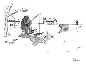 Bears above the snowstorm fish for humans trapped in a car. - New Yorker Cartoon by Zachary Kanin