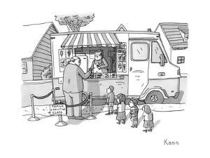 Executive cuts children in line for ice cream. - New Yorker Cartoon by Zachary Kanin