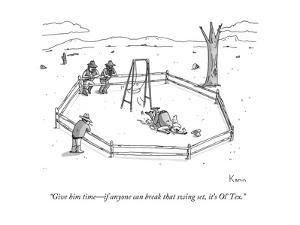"""Give him time—if anyone can break that swing set, it's Ol' Tex."" - New Yorker Cartoon by Zachary Kanin"
