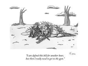 """I can defend this hill for another hour, but then I really need to get to?"" - New Yorker Cartoon by Zachary Kanin"