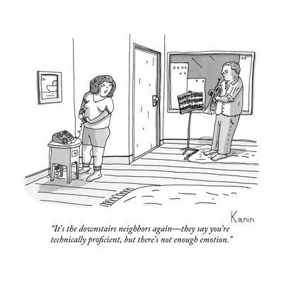 """""""It's the downstairs neighbors again?they say you're technically proficien?"""" - New Yorker Cartoon"""