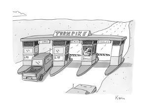 "There is a toll both with a ""riddles"" lane. The toll taker is a troll. - New Yorker Cartoon by Zachary Kanin"