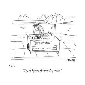 """Try to ignore the hot-dog smell."" - New Yorker Cartoon by Zachary Kanin"