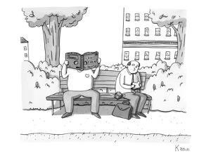 Two men on a bench. One is eating a sandwich, the other is looking through… - New Yorker Cartoon by Zachary Kanin