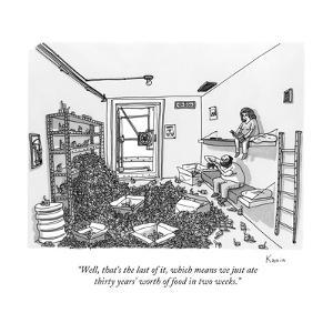 """Well, that's the last of it, which means we just ate thirty years' worth ?"" - New Yorker Cartoon by Zachary Kanin"