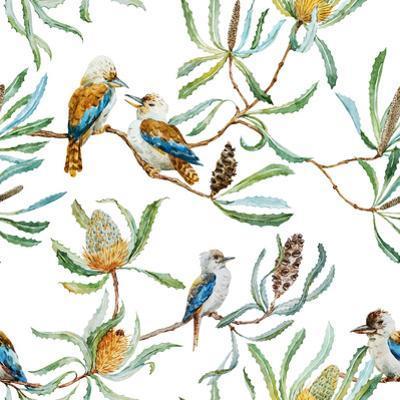 Australian Kookaburra Bird Pattern by Zenina