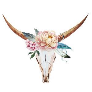 Bull Skull Watercolor by Zenina