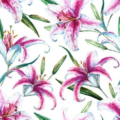 Tropical Watercolor Lilly Pattern by Zenina