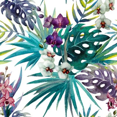 Watercolor Orchid and Hibiscus Leaves - Tropics by Zenina