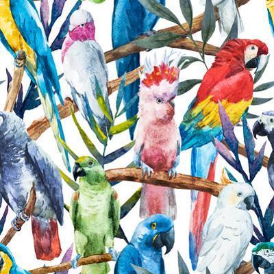 Watercolor Parrot Pattern by Zenina