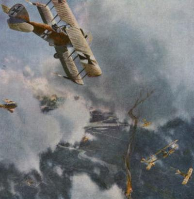 German and Allied Aeroplanes in a Dog-Fight Over the Western Front by Zeno Diemer